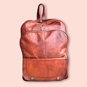 Vintage Genuine Cognac Leather Backpack for Laptop/School/College/Work/Travel
